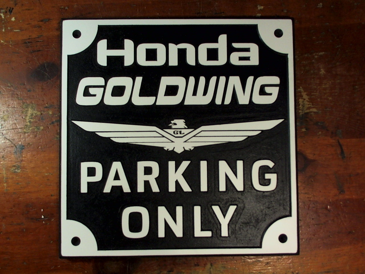 Engraved Man Cave Signs : Honda goldwing parking only engraved sign man cave garage