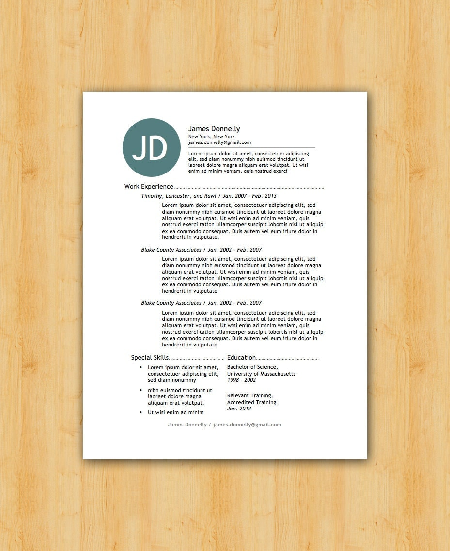 easy to edit resume template the donnelly by theresumecollege