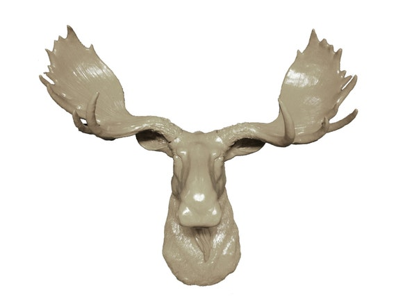 Beige moose head mount wall statue faux taxidermy fake moose - Fake moose head mount ...