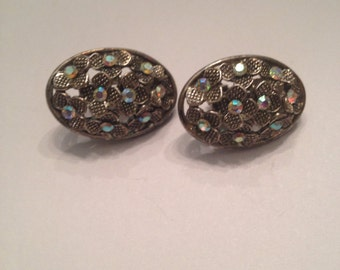 Vintage Silver Flower Rhinestone Earrings Costume Jewelry
