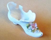 "Mid Year Sale! Vintage Collectible Porcelain Shoe Figurine Hand Painted Victorian Shoe Pink Flowers Shoe Size H2.5"" x L4.25"" X W1.5"" #147"