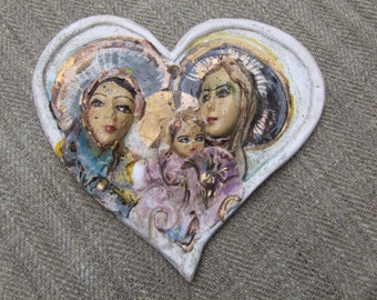 HOLY SISTERS, handmade tile,wedding gift, heart-shaped, gilded,readyto ship