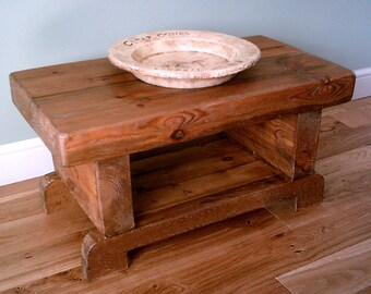 3 Inch Thick Chunky Rustic Coffee Table with Shelf - Various Sizes 033