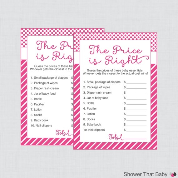 baby shower price is right game in pink printable instant download