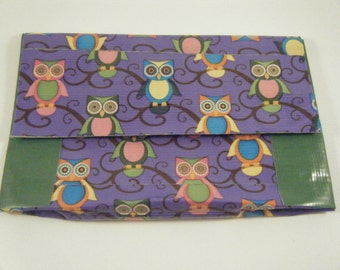 Duck tape owl coin purse / card holder / pouch, purple owl, duck tape craft