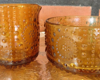 Riihimäen Glass, Nanny Still, Grapponia, sugar bowl and creamer.