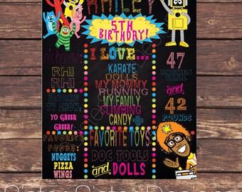 Yo Gabba Gabba Printable Birthday Chalkboard