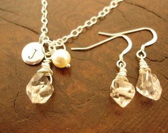 Maid of Honor, Bridesmaid, Sister-In-Law Wedding Gift set with Herkimer Diamonds