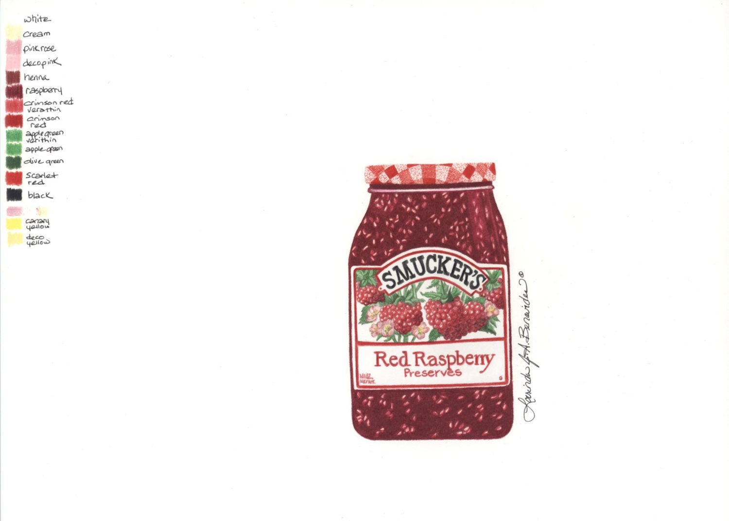 Jar Of Smuckers Raspberry Jam Photo Realistic Drawing Art