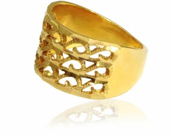 Lace ring GOLD Filled ring ,filigree gold ring, gifts for women