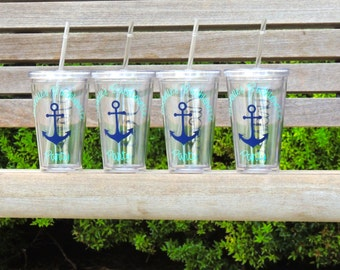 personalized cups, cruise tumblers, personalized tumblers, party tumblers, tumblers with anchor, wedding tumblers, 16 oz cups, monogrammed