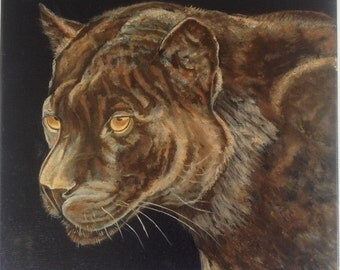 "12"" x 12"" Oil Painting of a Panther by Linda Hourcade"