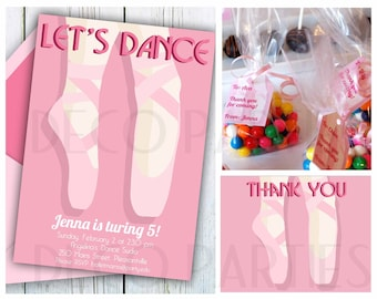 Ballet Birthday Party Printable MINI set, INSTANT DOWNLOAD Editable ballet party invitation, Pink girl birthday, dance party for kids