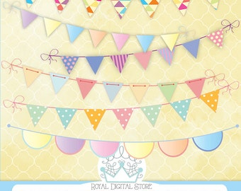 """Bunting Banners Clip Art : """" Pastel Bunting Banners Clip Art """" with pastel bunting banners clip art, colorful bunting banners clip art"""