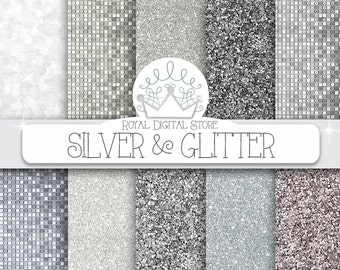 """Silver glitter digital paper: """" SILVER & GLITTER"""" with silver glitter backgrounds, textures for scrapbooking, cards, invitations, party"""
