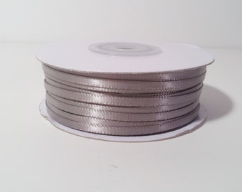 "1/8"" and 1/16"" Silver Double Face Satin Ribbon - 100 Yards"
