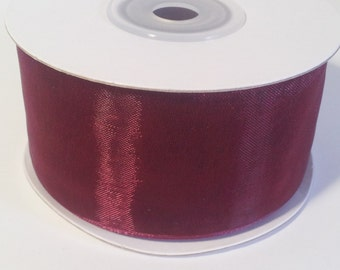 "1 1/2"" Sheer Organza Ribbon - Wine - 25 Yards"