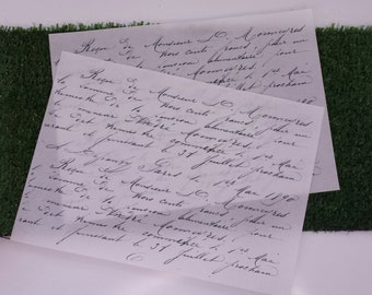 Wafer Paper edible prints Set of 2 Vintage writing - A4 pages