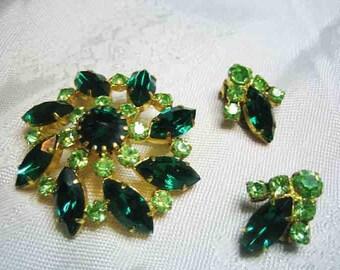 Vintage Dark Light Green Rhinestone Brooch  Earrings Made In Austria
