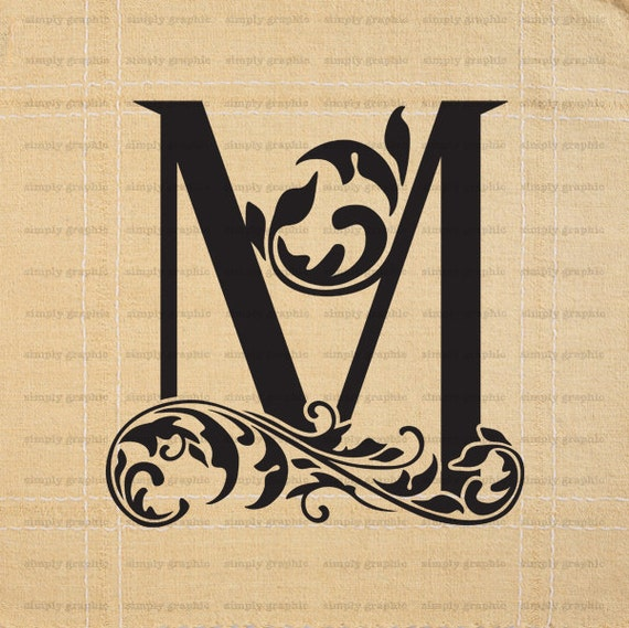 Monogram initial letter m digital collage by
