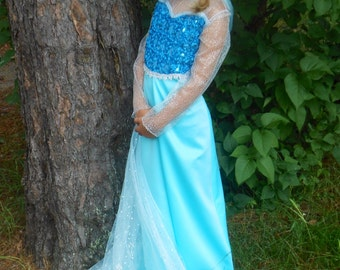 Elsa  Dress With Cape for Girls Based Upon the Movie Frozen