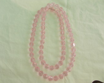 Long Vintage Necklace of Pale Pink and Clear Glass Beads that are Faceted. Like New, Very Feminine Necklace