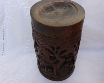 Antik pot has carved bamboo 19th century Chinese tobacco