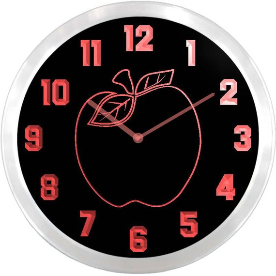 Nc0969 Apple Kitchen Decor Neon Sign LED Wall Clock By