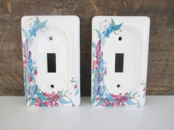 vintage light switch cover 2 butterfly and flower ceramic. Black Bedroom Furniture Sets. Home Design Ideas