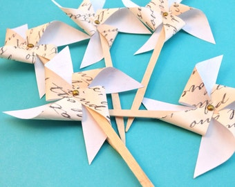 Love Notes Pinwheel Cupcake Toppers