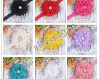 U Pick Wholesales Lace Pearl Flower Headband Baby Headbands. Newborns Headbands. Girl's Headband YTH25