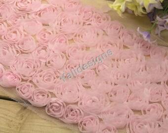 Lace Trim Fabric Pink Bridal Chiffon Rose Wedding Lace Trim Grenadine Mesh 6 Rows Trim 1 yard/5 Yards/10 yards YTA36 U Pick .