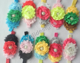 U Pick Wholesales Shabby Flower Headband Baby Headbands. Rhinestone Pearl Headband Vintage Newborns Headbands. Girl's Headband YTH21