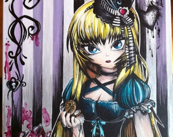 Alice in Wonderland original- *REDUCED* from 450.00- 16x12 inch chunky canvas painting