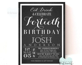 Adult Birthday Invitation -  Birthday Party Invite - Custom Font Color - Charcoal Black - Eat Drink and Celebrate -  Printable No.244