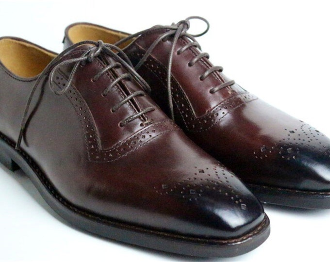 Handmade Goodyear Welted Brogue Men's Dress Shoes,Square Carving and Black Brush off