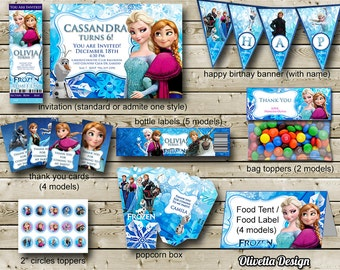 Frozen Birthday Party Package, Printable Frozen Party Kit Invitation Banner Food Tent Labels Thank you cards Frozen Birthday Party Package