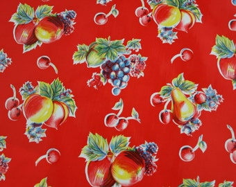 Pears and Apple oilcloth by the yard.