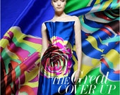 big flower print elastic silk satin fabric for dress shirt scraft clothes
