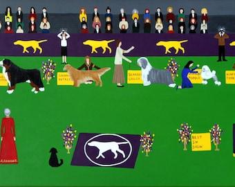 Westminster Dog Show framed 18x36 acrylic on canvas