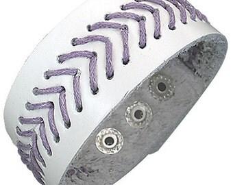 White Leather wristband.