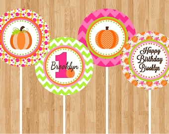 Pumpkin Patch Pink Digital Cucpake Toppers - Printable Birthday Party Decorations party circles