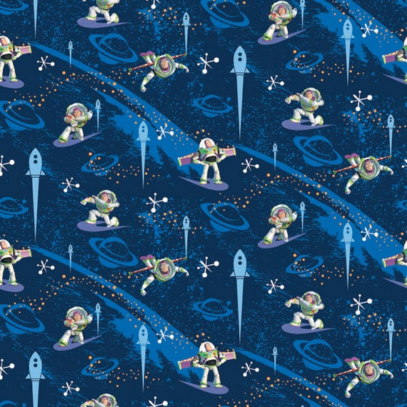Disney toy story buzz lightyear kids children fabric for Outer space fabric panel