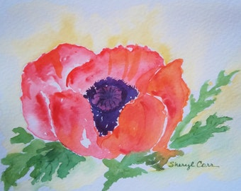 Red Poppy Watercolor Notecard