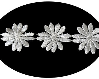 2 Inches Ivory Cuttable Floral Daisy Pattern Guipure Embroidered Flower Venice Lace Trim Crafts Supplies Embellishment Sewing Notions UB009