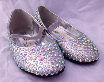 Girls Silver Sparkle Party Shoes