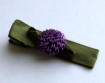 Olive Green Hair Clip with Purple Embellishment