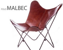 Handmade Original Butterfly Chair Polo leather with black frame from Argentina (Big BKF)