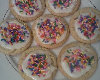 Homemade Birthday Cake Cookies with homemade Butter-Cream Frosting!