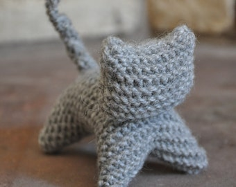 Grey Wool Knitty Kitty - A Waldorf Inspired Knitted Cat Toy - Natural Baby Toy